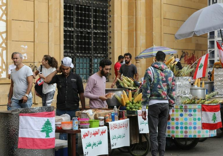 Youth unemployment is chronic in Lebanon, with some young people taking advantage of the protest crowds to help make ends meet