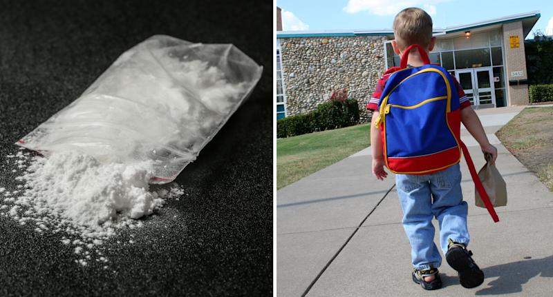 Image of cocaine and young boy after five-year-old brought the drug with him to kindy.