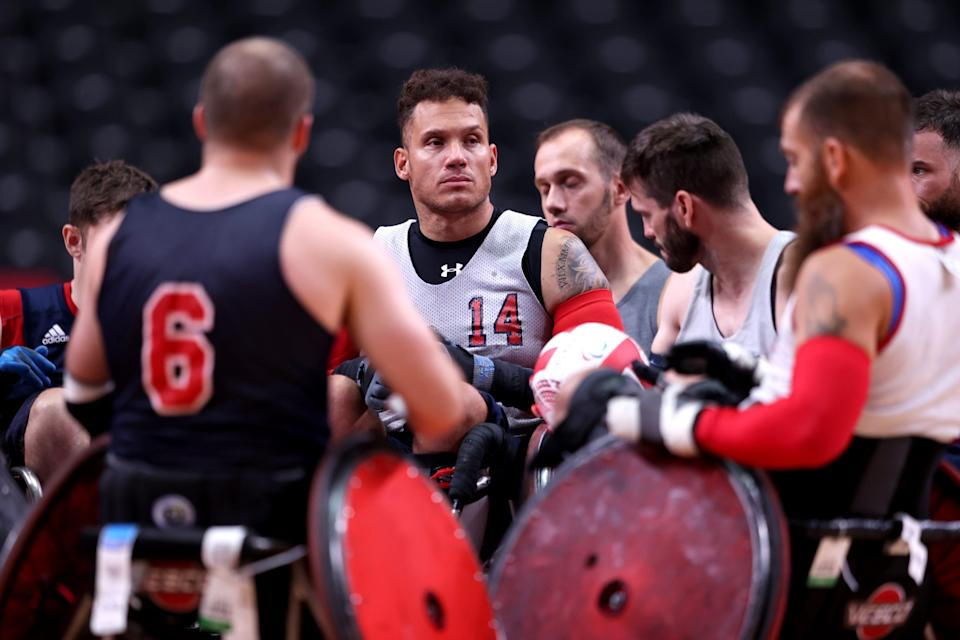 Joe Delagrave (14) of Team USA during a Team USA Wheelchair Rugby practice session ahead of the Tokyo 2020 Paralympic Games.