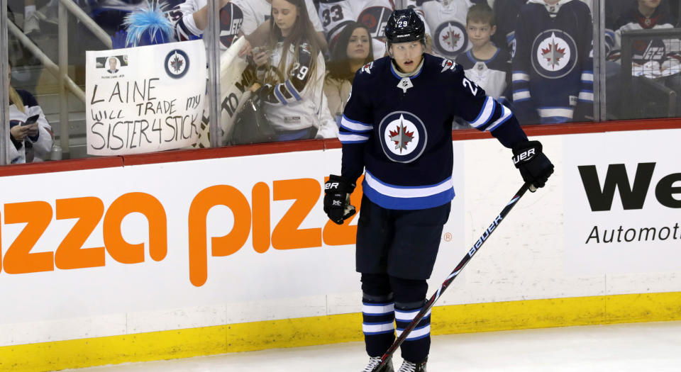 Patrik Laine didn't sound overly confident about playing with the Winnipeg Jets next season. (James Carey Lauder-USA TODAY Sports)