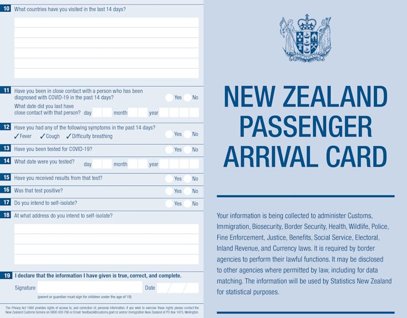 A New Zealand Passenger Arrival Card asks people to declare COVID-19 symptoms and illness.