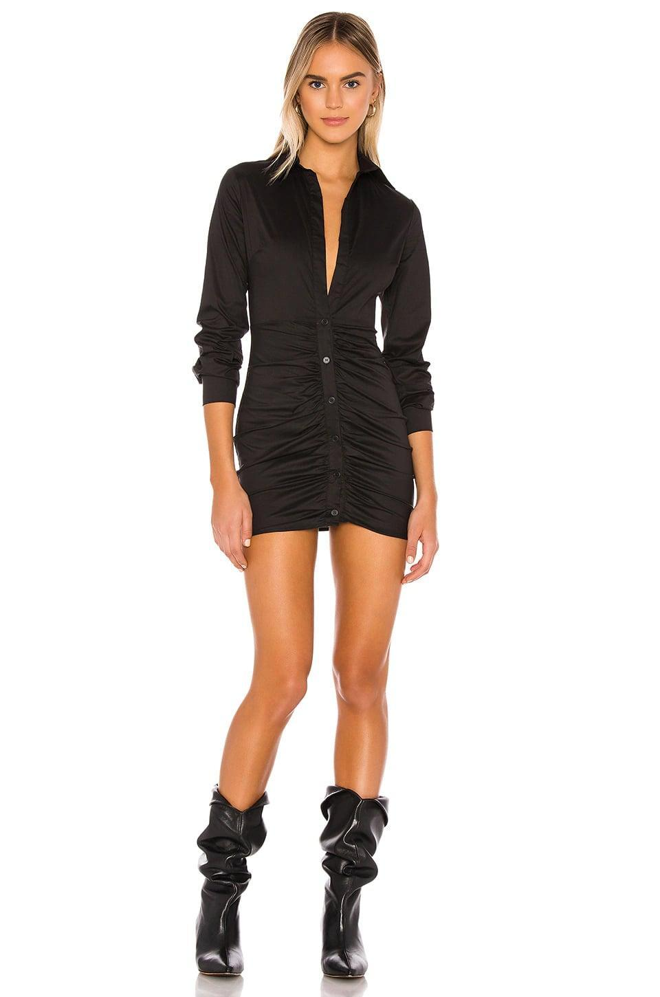 <p>With a low neckline and a high hemline, this <span>Superdown Colette Ruched Shirt Dress</span> ($66) is a fun choice for a night out. It looks great with knee-high boots or strappy sandals.</p>