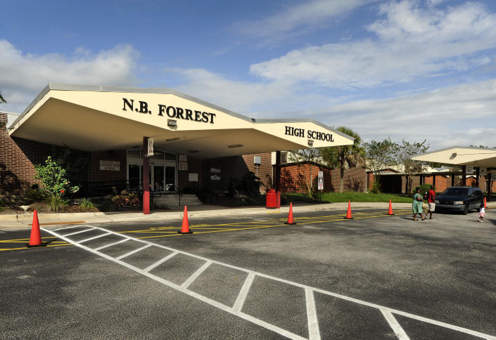 This photo taken on Sept. 30, 2013, shows the exterior of the Nathan B. Forrest High School in Jacksonville, Fla.  (Bob Self/The Florida Times-Union via AP)