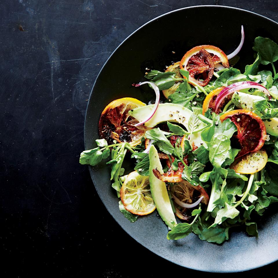 "Our list of the greatest avocado dishes starts with this zesty salad, which is tossed with roasted oranges and lemons. Baking citrus at a high heat caramelizes the sugars and softens the rinds. They combine beautifully with velvety avocado and spicy greens. <a href=""https://www.epicurious.com/recipes/food/views/roasted-citrus-and-avocado-salad-51260250?mbid=synd_yahoo_rss"">See recipe.</a>"