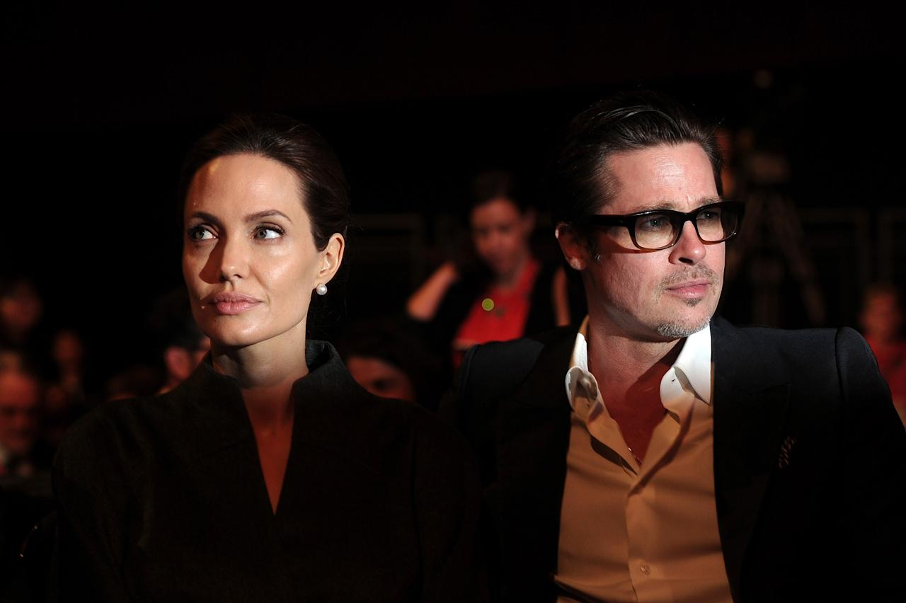 <p>Brad Pitt and Angelina Jolie attend the Global Summit to End Sexual Violence and Conflict in London in June 2014.The couple were together from 2005-2016.</p>