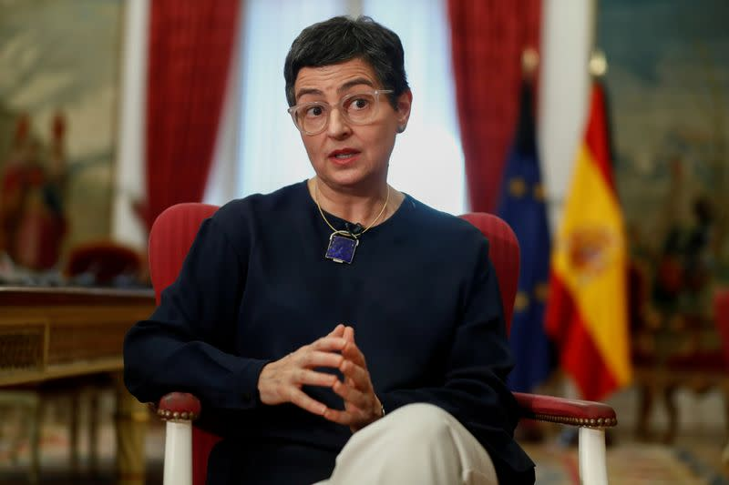 FILE PHOTO: Spanish Foreign Minister Arancha Gonzalez Laya reacts during an interview with Reuters at the Ministry of Foreign Affairs, in Madrid