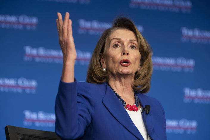 House Speaker Nancy Pelosi, D-Calif., at the Economic Club in Washington, D.C., on March 8. (Photo: Alex Edelman/Bloomberg via Getty Images)