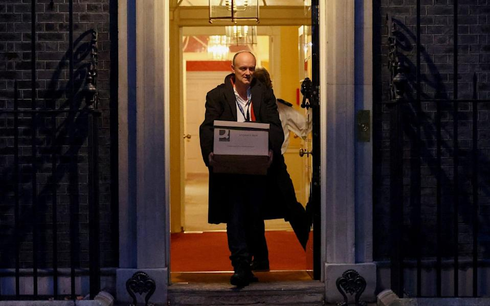 Dominic Cummings leaves Downing Street after a row over who leaked news of the November lockdown - HENRY NICHOLLS/REUTERS