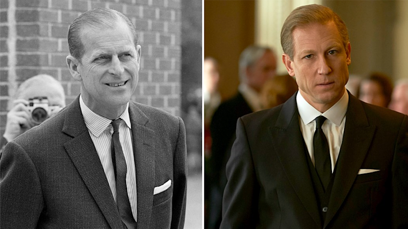 Prince Philip is shown to have a type of crisis around 1968 (pictured, left). Tobias Menzies plays the royal in The Crown season three.
