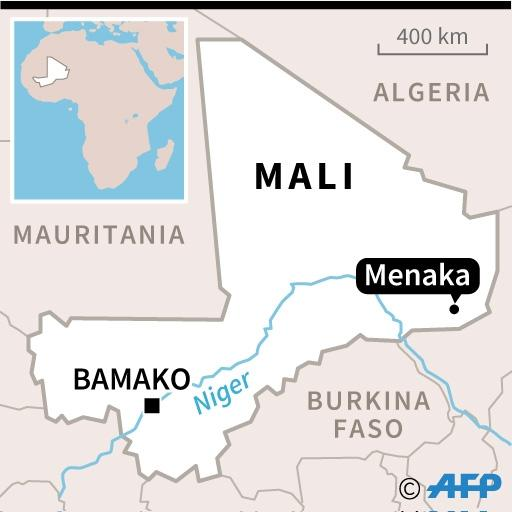 Map of Mali locating the region of Menaka where the death toll from an attack by armed militants rose from 12 to 27 people