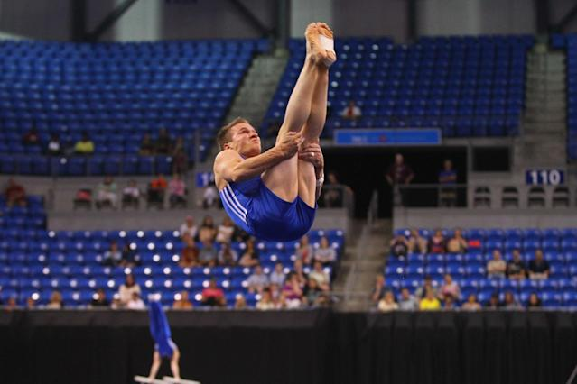 ST. LOUIS, MO - JUNE 7: Jonathan Horton competes in the floor exercise during the Senior Men's competition on day one of the Visa Championships at Chaifetz Arena on June 7, 2012 in St. Louis, Missouri. (Photo by Dilip Vishwanat/Getty Images)