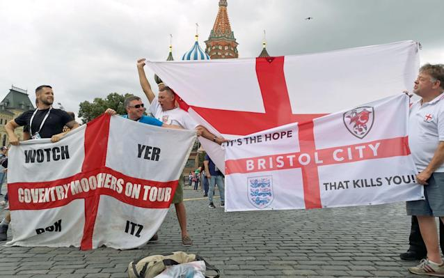 National pride: England fans in Moscow ahead of the World Cup semi final.