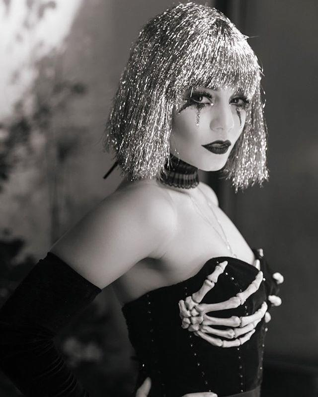 "<p>The HalloQUEEN totally owned the costume game (I mean duh) with a silver wig and skeleton hand bra. </p><p><a href=""https://www.instagram.com/p/Ba2XUt7DMu2/?taken-by=vanessahudgens"" rel=""nofollow noopener"" target=""_blank"" data-ylk=""slk:See the original post on Instagram"" class=""link rapid-noclick-resp"">See the original post on Instagram</a></p>"