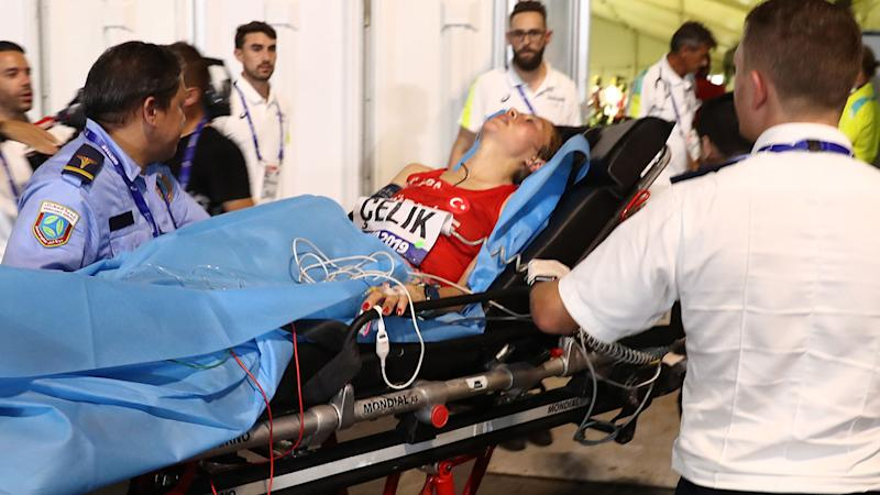 Fadime Celik of Turkey, pictured here receiving medical attention.