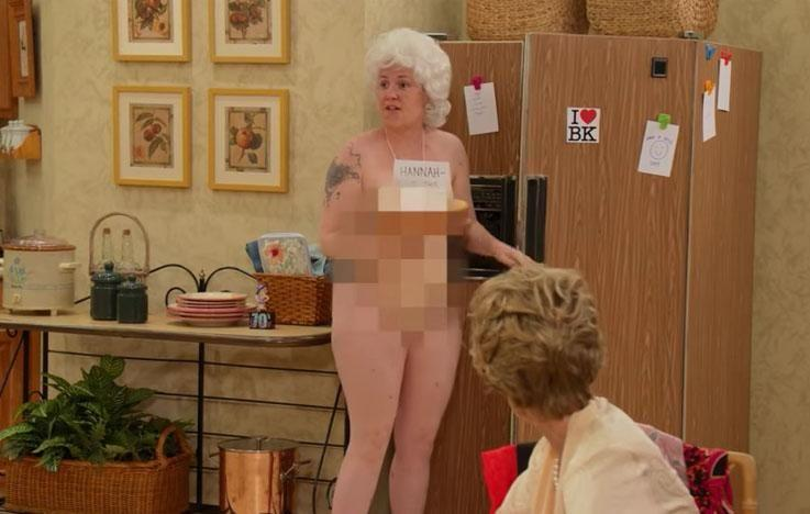 It seems nothing has changed around here... Lena is still getting her kit off! Photo: Jimmy Kimmel Live.