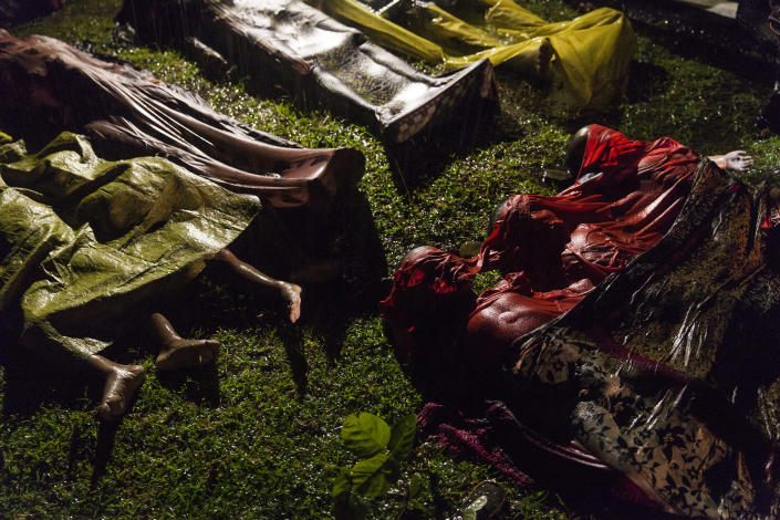 <p>Rohingya crisis: The bodies of Rohingya refugees are laid out after the boat in which they were attempting to flee Myanmar capsized about eight kilometers off Inani Beach, near Cox's Bazar, Bangladesh. Around 100 people were on the boat before it capsized. There were 17 survivors, Sept. 28, 2017.<br>The Rohingya are a predominantly Muslim minority group in Rakhine State, western Myanmar. They number around one million people, but laws passed in the 1980s effectively deprived them of Myanmar citizenship. Violence erupted in Myanmar on Aug. 25 after a faction of Rohingya militants attacked police posts, killing 12 members of the Myanmar security forces. Myanmar authorities, in places supported by groups of Buddhists, launched a crackdown, attacking Rohingya villages and burning houses. According to the UNHCR, the number of Rohingya that subsequently fled Myanmar for Bangladesh reached 500,000 on Sept. 28. (Photo: Patrick Brown/Panos Pictures for Unicef) </p>