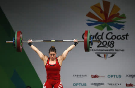 Weightlifting - Gold Coast 2018 Commonwealth Games - Women's 63kg Final - Carrara Sports Arena 1 - Gold Coast, Australia - April 7, 2018. Maude Charron of Canada competes. REUTERS/Paul Childs