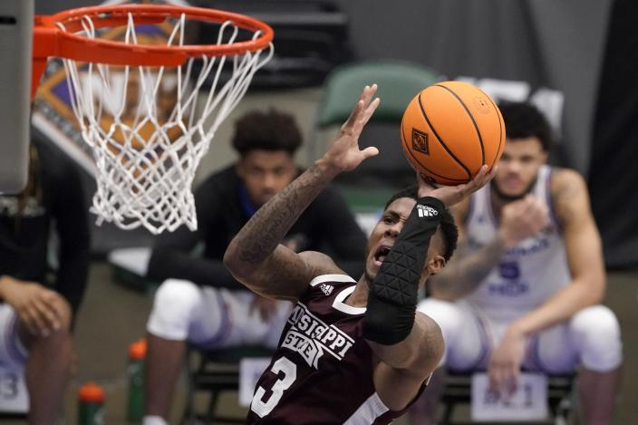Mississippi State guard D.J. Stewart Jr. (3) takes a shot in the first half of an NCAA college basketball game against Louisiana Tech in the semifinals of the NIT, Saturday, March 27, 2021, in Frisco, Texas. (AP Photo/Tony Gutierrez)