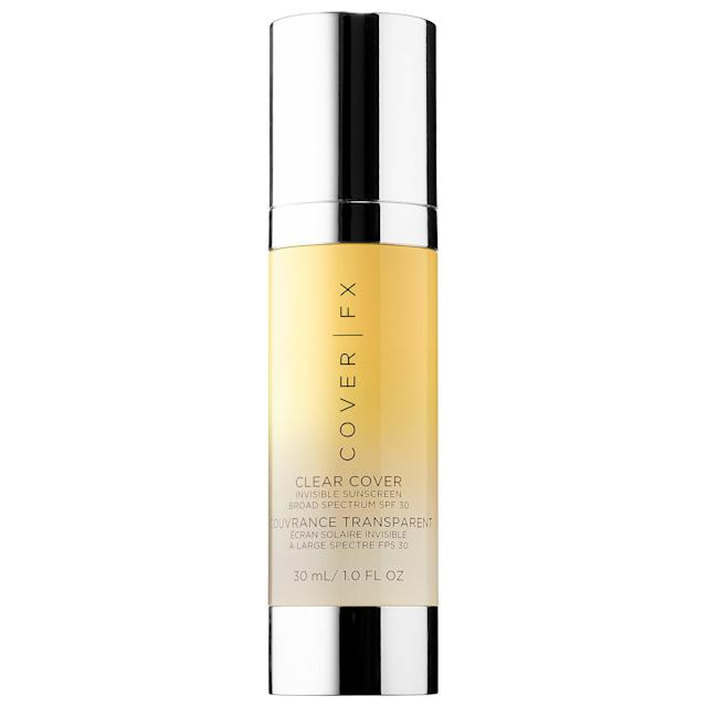 "<p>This clear formula feels like velvet on your skin, hydrates dry areas, and smoothes uneven skin, all while feeling super-lightweight. <a href=""http://www.sephora.com/clear-cover-invisible-sunscreen-broad-spectrum-spf-30-P409070?om_mmc=ppc-GG_652230442_29731549381_dsa-163472390667__140881059108_9060351_c&country_switch=us&lang=en&gclid=CPbL7Y-bidQCFUiHswodBjYOhA&gclsrc=aw.ds"" rel=""nofollow noopener"" target=""_blank"" data-ylk=""slk:Cover FX Clear Cover Invisible Sunscreen SPF 30"" class=""link rapid-noclick-resp"">Cover FX Clear Cover Invisible Sunscreen SPF 30</a>, $44. (Photo: Sephora) </p>"