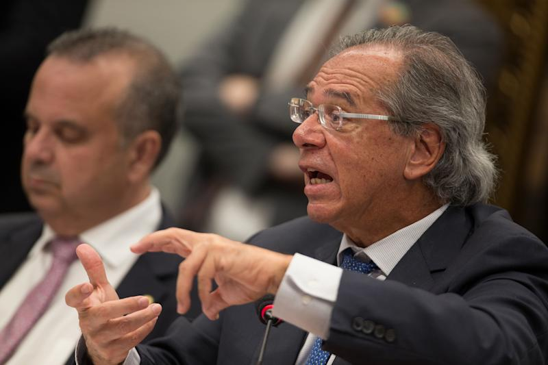 Paulo Guedes, Brazil's economy minister, speaks during a public hearing on pension reform before the Lower House Justice and Constitution Committee in Brasilia, Brazil, on Wednesday, April 3, 2019. Guedes sparred with lawmakers over a proposed pension reform during a crucial period for the government as it works to build congressional support for the bill. Photographer: Andre Coelho/Bloomberg via Getty Images