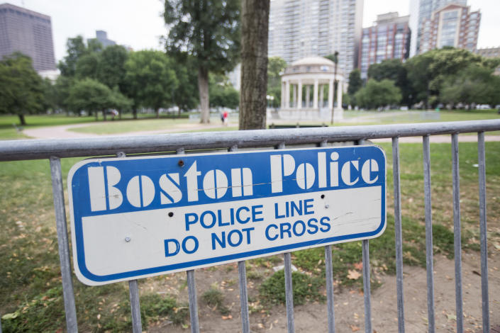 Barricades on the Boston Common, where a rally in solidarity with the victims of Charlottesville, Va., will be held on Saturday, Aug. 18, 2017. (Photo: Scott Eisen/Getty Images)