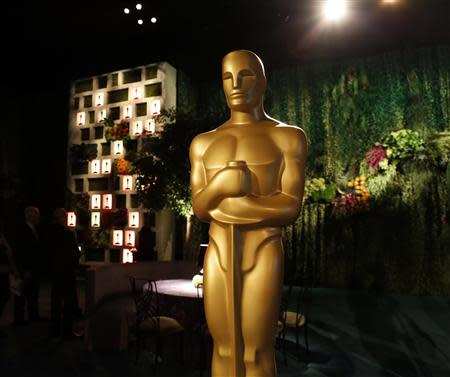 A large Oscar statue is seen in the Dolby Ballroom during the 86th Oscars Governors Ball press preview in Hollywood