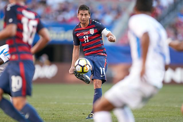 "<a class=""link rapid-noclick-resp"" href=""/soccer/players/alejandro-bedoya/"" data-ylk=""slk:Alejandro Bedoya"">Alejandro Bedoya</a> is one of several veterans in the U.S. squad for its friendly against Portugal. (Getty)"