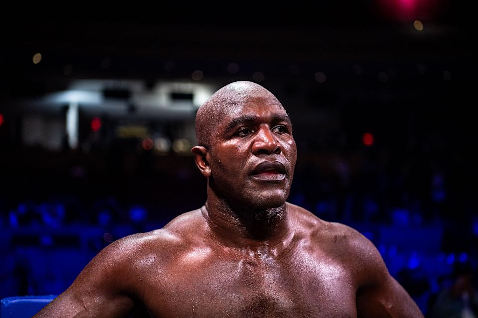 US former professional boxer Evander Holyfield looks on after loosing a boxing fight against Brazilian martial artist Vitor Belfort (L) at Hard Rock Live in Hollywood, Florida on September 11, 2021. (Photo by CHANDAN KHANNA / AFP) (Photo by CHANDAN KHANNA/AFP via Getty Images)