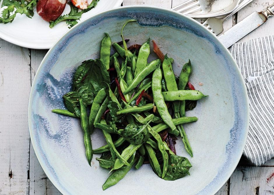 """Add the basil at the last minute, so it doesn't wilt too much. <a href=""""https://www.bonappetit.com/recipe/runner-beans-with-swiss-chard-stems-and-basil?mbid=synd_yahoo_rss"""" rel=""""nofollow noopener"""" target=""""_blank"""" data-ylk=""""slk:See recipe."""" class=""""link rapid-noclick-resp"""">See recipe.</a>"""