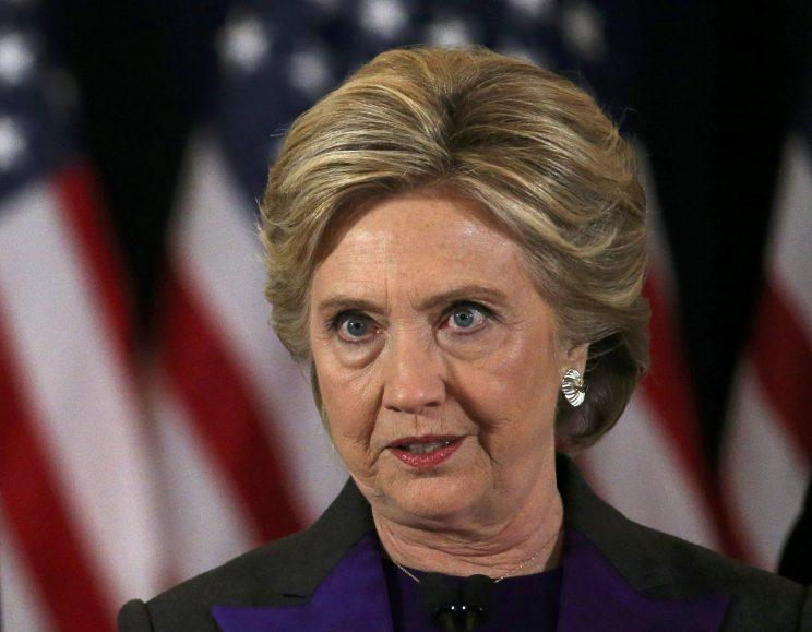 Clinton gives her concession speech after losing the election, Nov. 9, 2016. (Carlos Barria/Reuters)