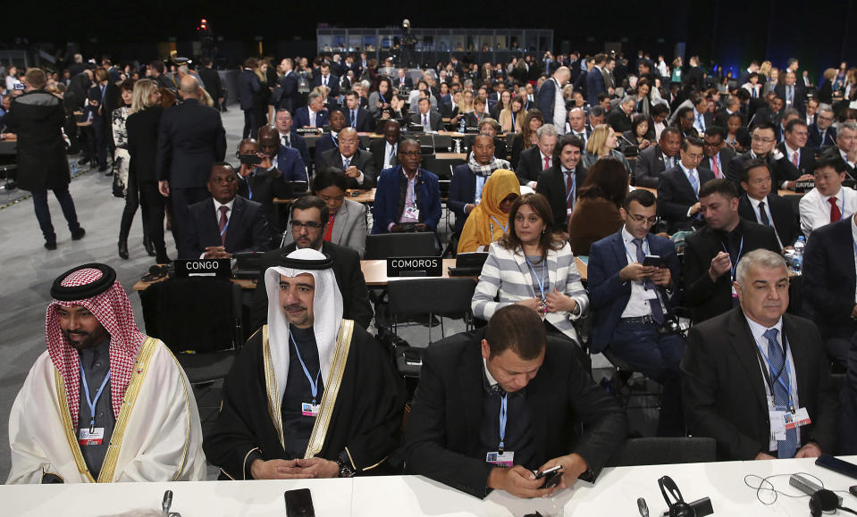 Leaders and negotiators from almost 200 nations from around the globe listen to speeches during the official opening of the key U.N. climate conference that is to agree on ways of fighting global warming in Katowice, Poland, Monday, Dec. 3, 2018.(AP Photo/Czarek Sokolowski)