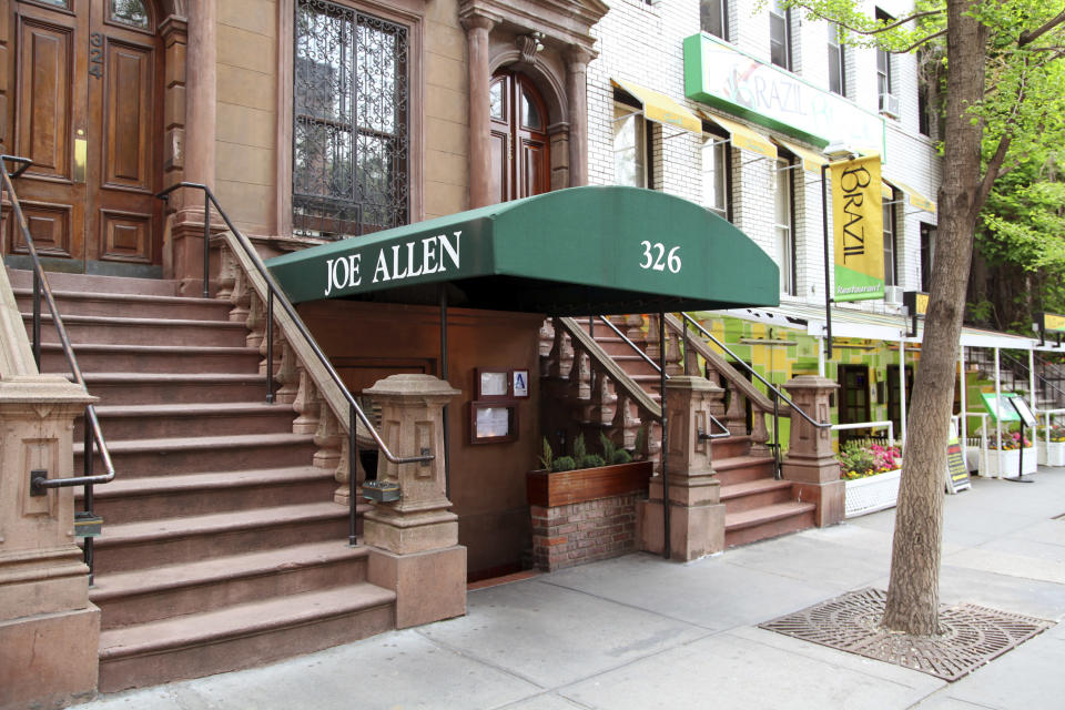 FILE - This May 21, 2014 photo shows the exterior of the Joe Allen on Restaurant Row in New York. Allen, whose Times Square-adjacent bistro which bears his name has been a decades-long draw for theater folk and where a post-Broadway drink is part of the Broadway experience, has died. He was 87. Allen died Sunday, Feb. 7, 2021, in Hampton, New Hampshire, according to Jason Woodruff, a former staffer for the Allen family of restaurants who spoke to the family. (AP Photo/Mark Kennedy, File)