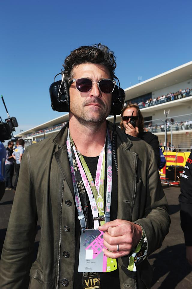AUSTIN, TX - NOVEMBER 18:  Actor Patrick Dempsey attends the United States Formula One Grand Prix at the Circuit of the Americas on November 18, 2012 in Austin, Texas.  (Photo by Mark Thompson/Getty Images)