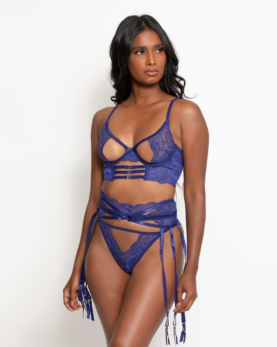 <p>This royal blue <span>Love, Vera Molly 3-Piece Garter Set</span> ($44) will highlight your body in all the right ways.</p>