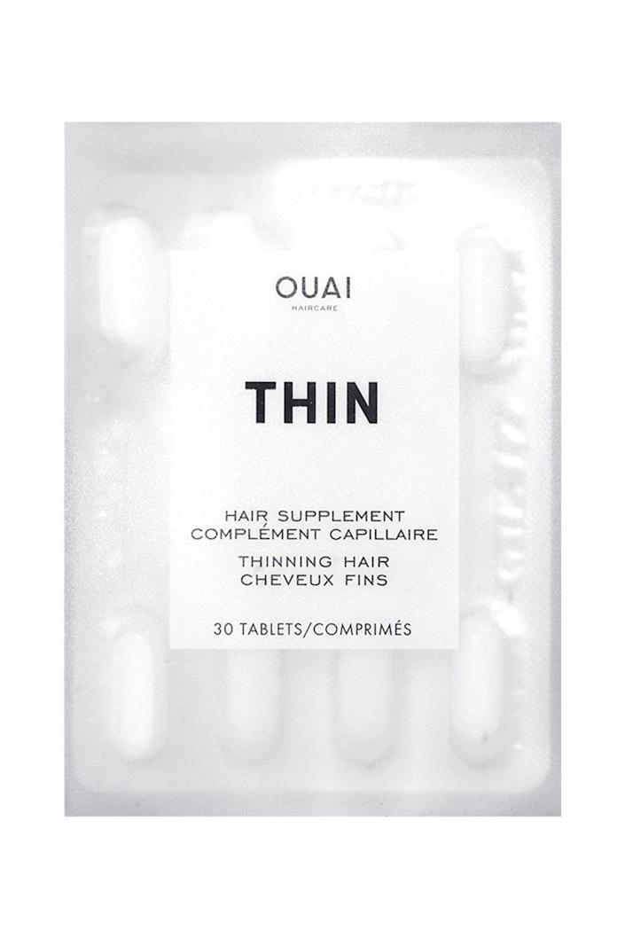 """<p>theouai.com</p><p><strong>$28.00</strong></p><p><a href=""""https://theouai.com/products/thin-hair-supplement?variant=46806708943&gclid=Cj0KCQiAqNPyBRCjARIsAKA-WFxygkd7MTaNDTU17LqT2dCbQHXkvvX_NfiDPTS6YIWYUj7aknZpQDUaAofoEALw_wcB"""" rel=""""nofollow noopener"""" target=""""_blank"""" data-ylk=""""slk:Shop Now"""" class=""""link rapid-noclick-resp"""">Shop Now</a></p><p>OUAI's supplements use a combination of biotin, silica, ashwagandha and amino acids that are proven to show results just after 90 days of use. The vitamins also protect hair by reducing breakage, while key ingredient Omega 3 increases shine and radiance. </p>"""