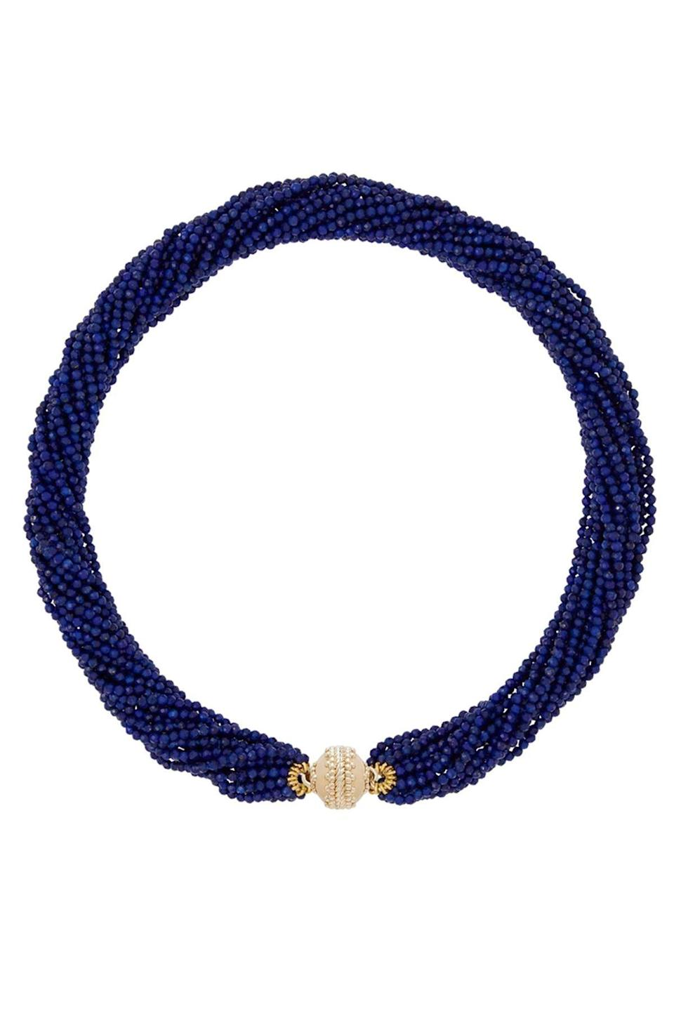 """<p><strong>Clara Williams </strong></p><p>clarawilliams.com</p><p><strong>$2800.00</strong></p><p><a href=""""https://www.clarawilliams.com/collections/necklaces-1/products/michel-lapis-multi-strand-necklace"""" rel=""""nofollow noopener"""" target=""""_blank"""" data-ylk=""""slk:Shop Now"""" class=""""link rapid-noclick-resp"""">Shop Now</a></p><p>Let's be honest, we can't get enough lapis. And with this necklace by Clara Williams, you will have some dazzling lapis on tap for whenever you (or your outfit) needs a boost. </p>"""
