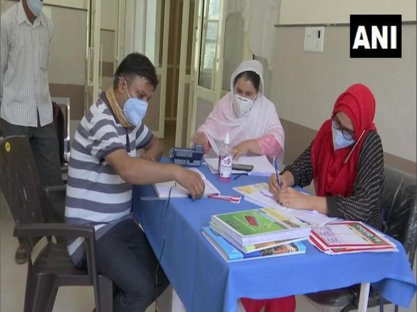 Visual of the vaccination drive taking place in Rajouri's Manjakote. (Photo/ANI)