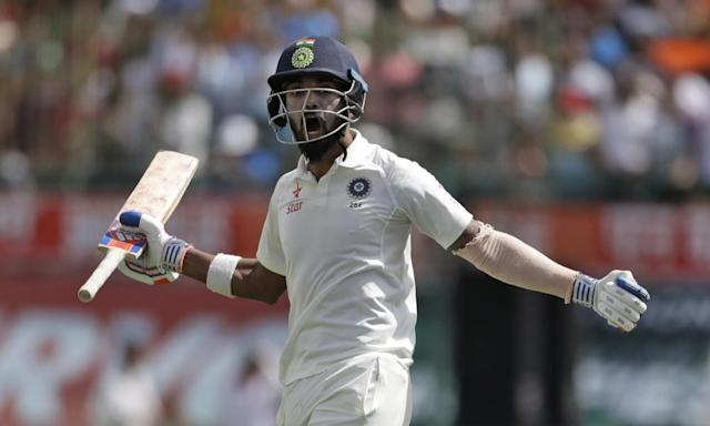 "<span class=""element-image__caption"">Lokesh Rahul was unbeaten on 51 when India's win came, giving him a personal haul of 403 for the series.</span> <span class=""element-image__credit"">Photograph: Tsering Topgyal/AP</span>"
