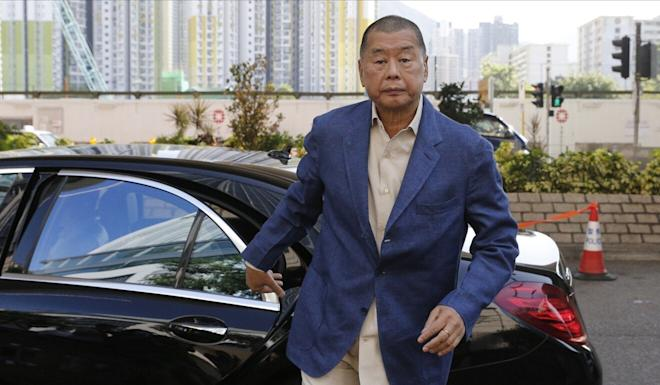 Apple Daily founder Jimmy Lai arrives at the West Kowloon Court in Cheung Sha Wan. Photo: K. Y. Cheng