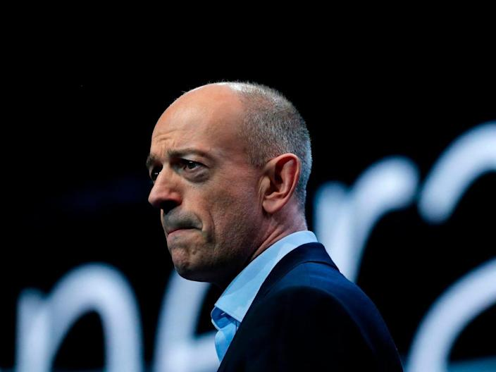 ARM Holdings chief executive officer Simon Segars delivers a keynote speech at the Mobile World Congress (MWC) in Barcelona on February 27, 2019.