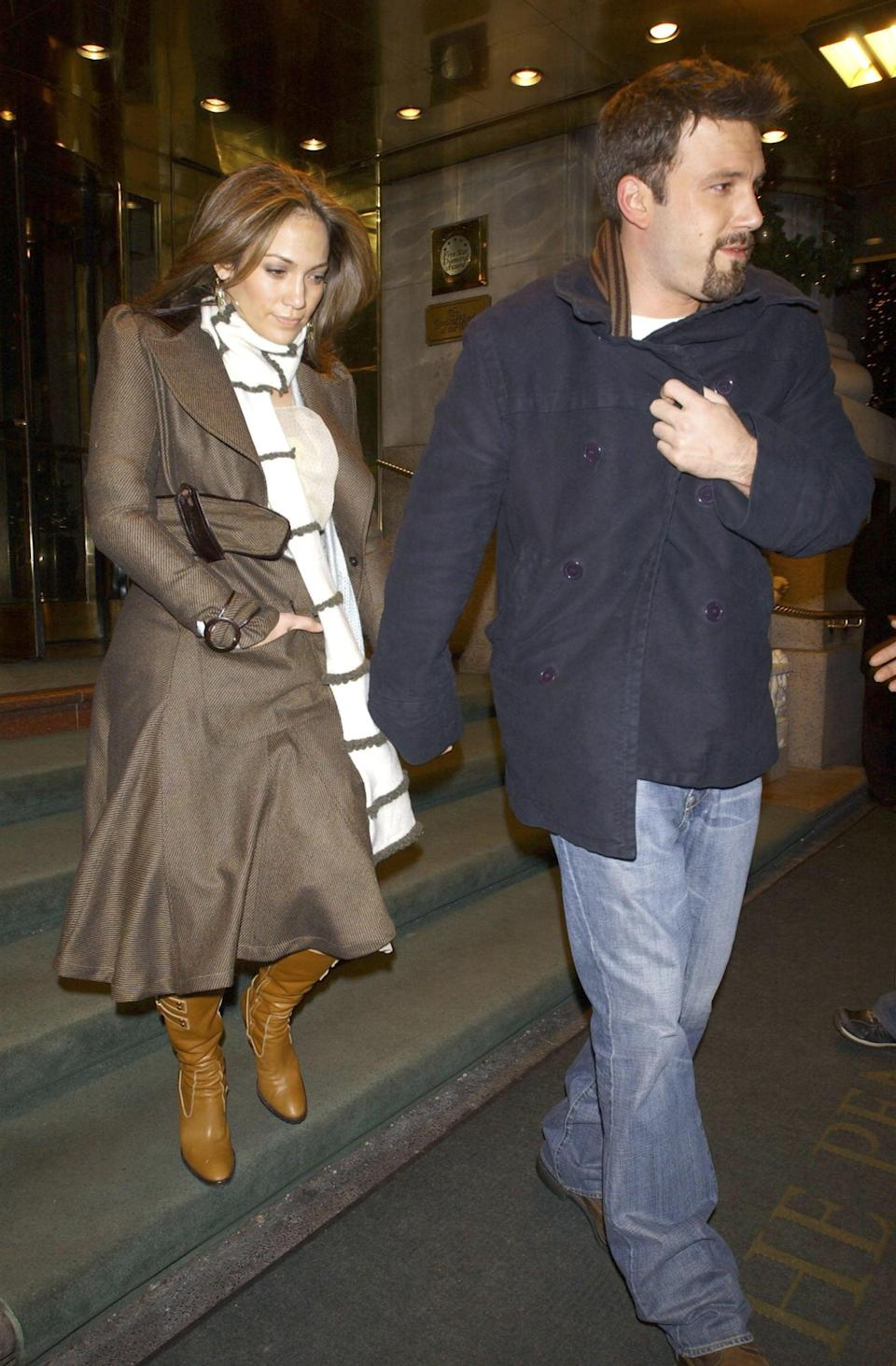 <p>Jennifer was a dressed-up counter to Ben's baggy jeans in NYC in December 2003.</p>