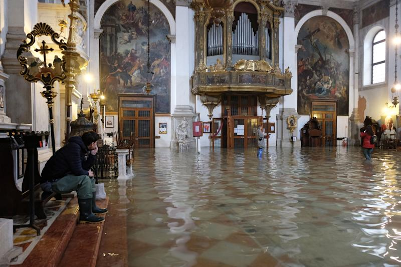 A flooded church is seen during a period of seasonal high water in Venice, Italy, on Nov. 17, 2019.  (Photo: Manuel Silvestri / Reuters)