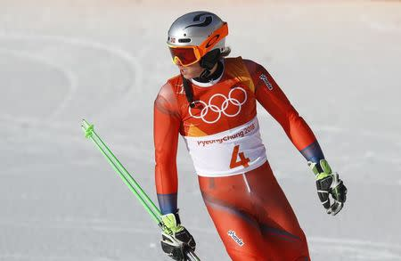 Kristoffersen leads 1st run of Olympic slalom