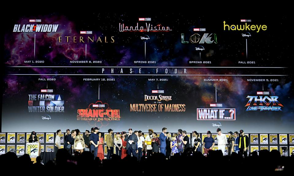 SAN DIEGO, CALIFORNIA - JULY 20: The Marvel Cinematic Universe Phase Four is announced with cast members during the Marvel Studios Panel during 2019 Comic-Con International at San Diego Convention Center on July 20, 2019 in San Diego, California. (Photo by Kevin Winter/Getty Images)