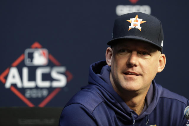 Houston Astros manager AJ Hinch talks to the media before a practice for a baseball American League Championship Series in Houston, Friday, Oct. 11, 2019. Houston will face the New York Yankees on Saturday. (AP Photo/Eric Gay)