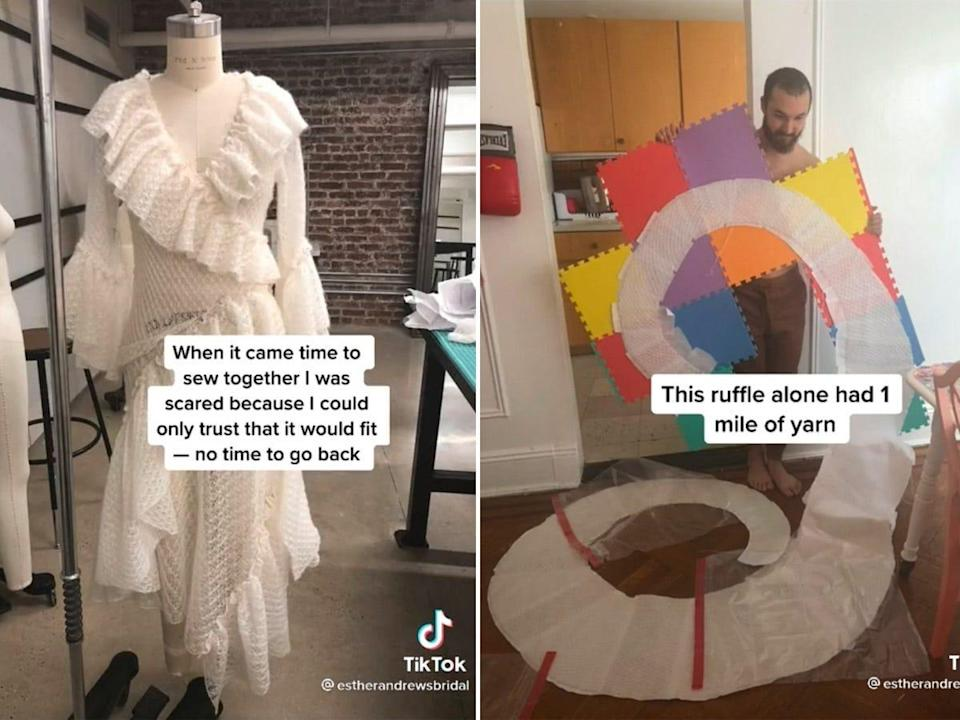 A side by side of a dress on a manequin and a man holding up a ruffle of fabric.