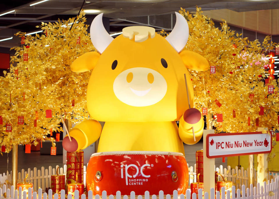 The cute and chubby ox is ready to drum up a lucky beat for the new year. — Picture courtesy of IPC Shopping Centre