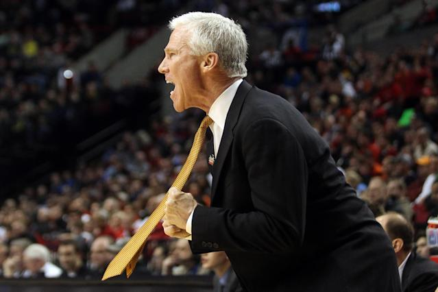 PORTLAND, OR - MARCH 15: Head coach Bob McKillop of the Davidson Wildcats reacts in the first half while taking on the Louisville Cardinals in the second round of the 2012 NCAA men's basketball tournament at Rose Garden Arena on March 15, 2012 in Portland, Oregon. (Photo by Jed Jacobsohn/Getty Images)