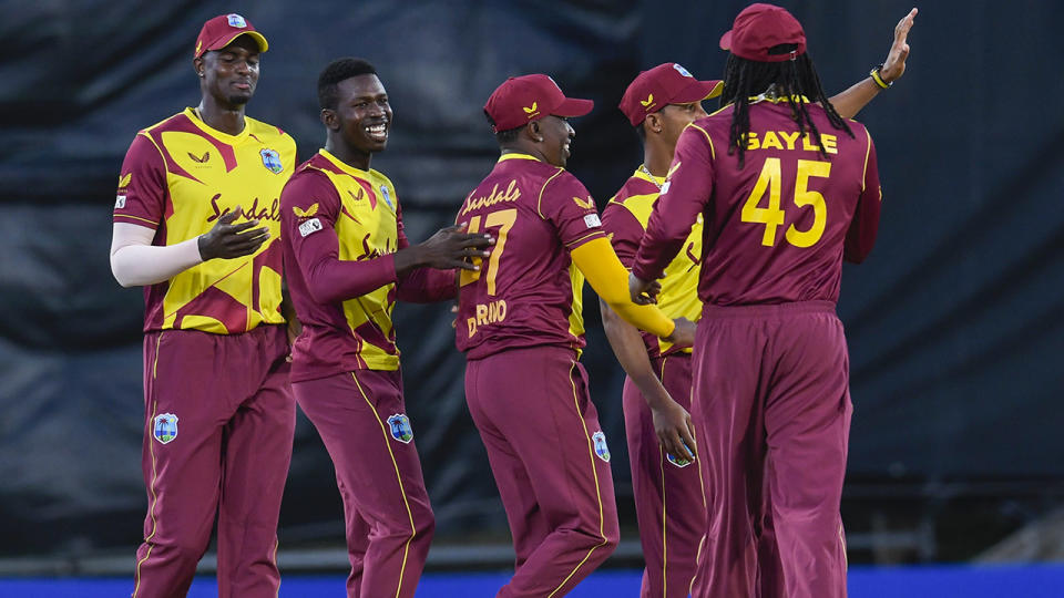 West Indies players, pictured here celebrating their win over Sri Lanka in the first T20.