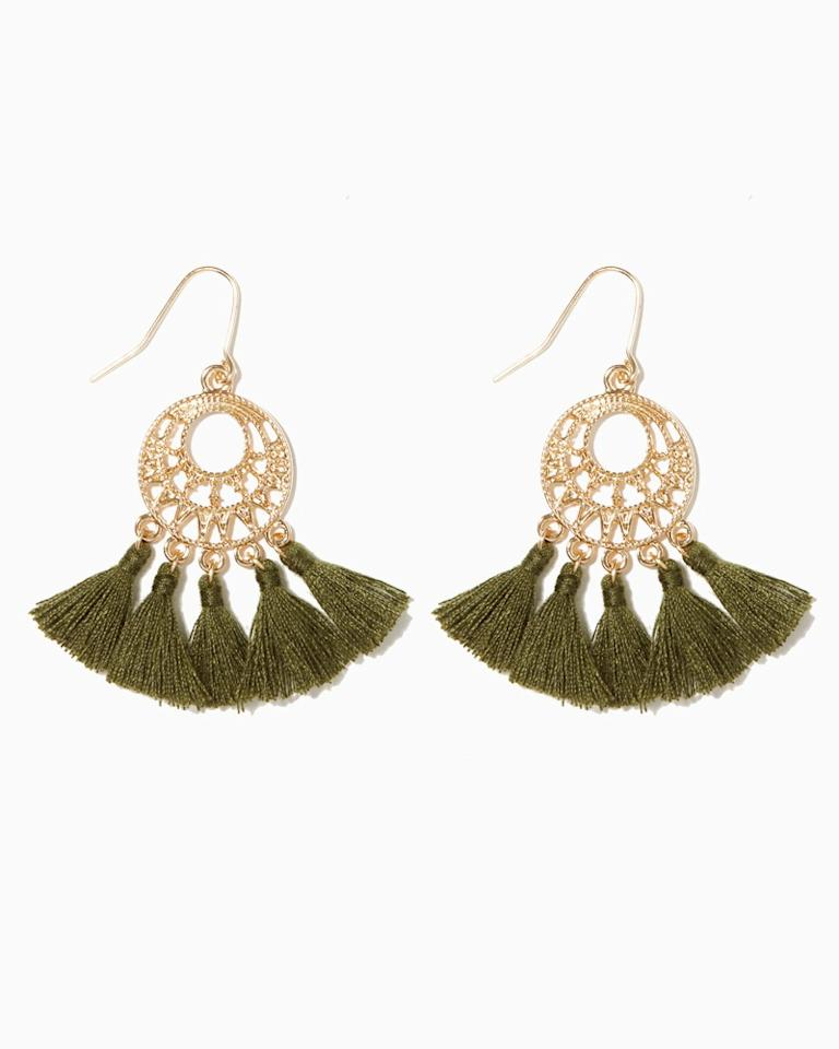 """<p><strong>Buy It! </strong>Charming Charlie, $8; <a rel=""""nofollow"""" href=""""http://www.pntrs.com/t/8-10842-131940-137442?sid=POFASSPRINGFINDSUNDER100APRILSB&url=http%3A%2F%2Fwww.charmingcharlie.com%2Fjewelry%2Fearrings%2Faigrette-tassel-earrings.html%23color%3Ddark-olive"""">charmingcharlie.com</a> </p>"""